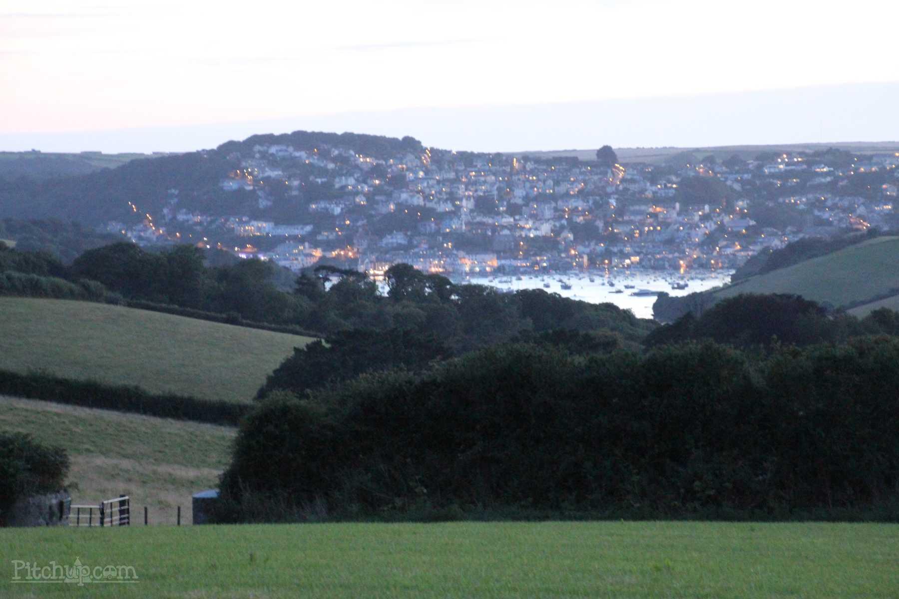 Dusk view to Salcombe from Wilton Farm, a South Devon Campsite