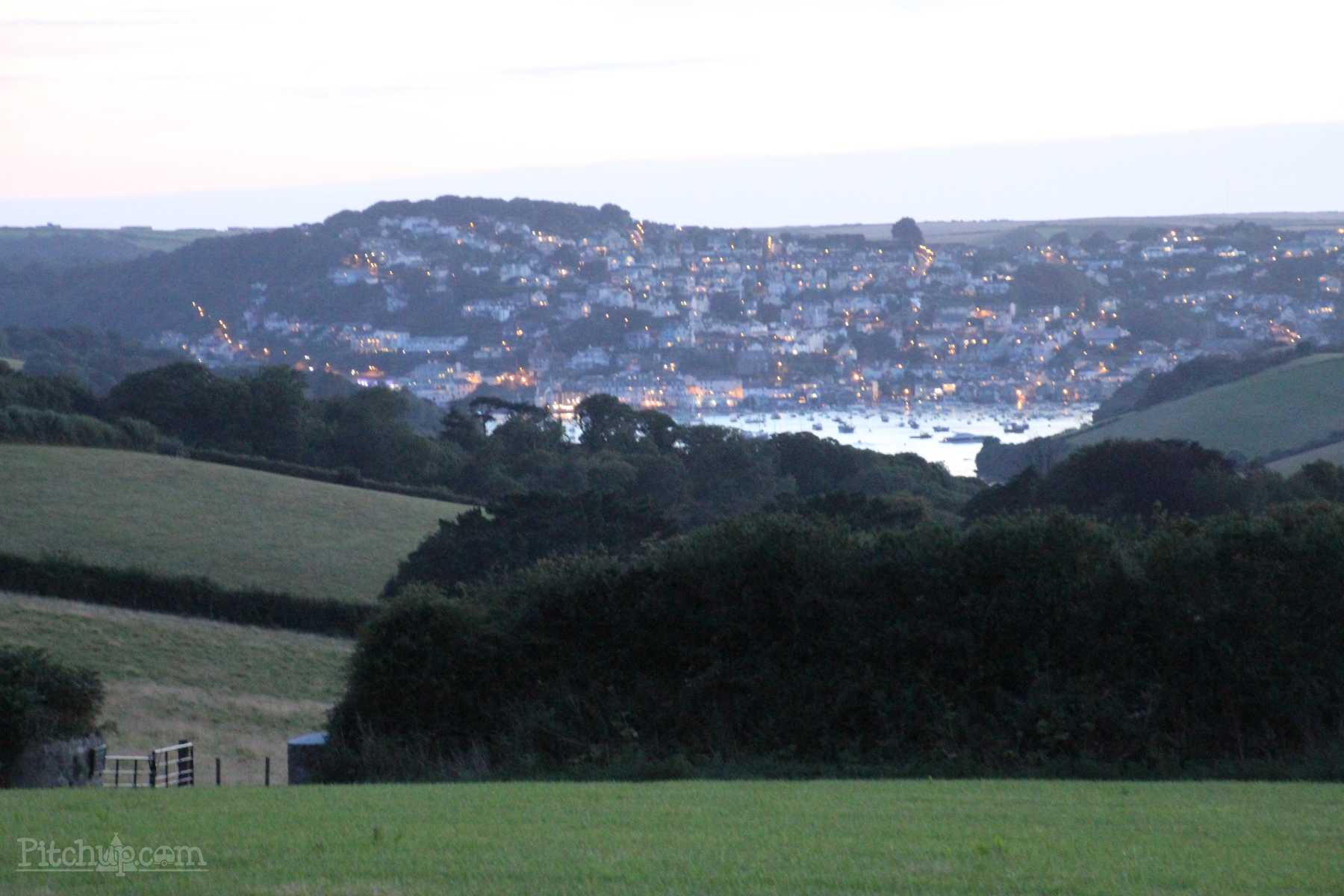 Dusk view to Salcombe from Wilton Farm, a South Devon Campsite